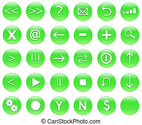 Icons For Web Actions Set Green - Icons for web actions in a...