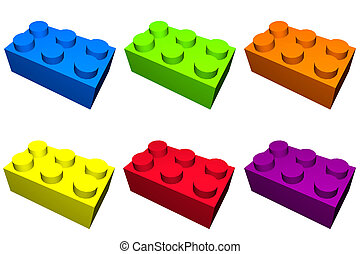 Construction Blocks In Colorful Isolation - Construction...
