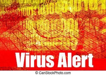 Virus Alert Warning Message on abstract technology...