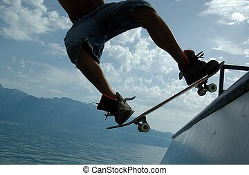 Skateboarder in action - Close-up shot of a skateboarder on...