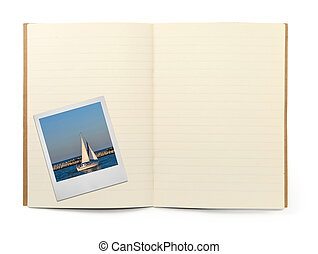 book and photo frame - blank lined exercise book and photo...