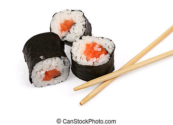sushi and chopsticks on white, minimal natural shadow...