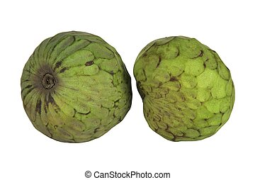 Custard apples - Two custard apples isolated on a white...