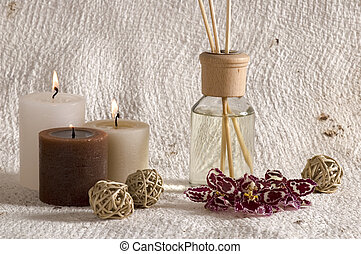 aroma therapy objects. bottle of esential oil, candles,...