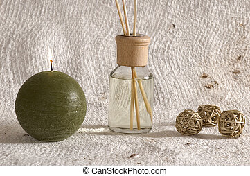 aroma therapy objects. bottle of esential oil, candles