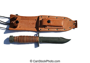 USMC Fighting Knife - USMC fighting knife with scabbard and...