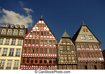 fachwerk houses at r?merberg in Frankfurt