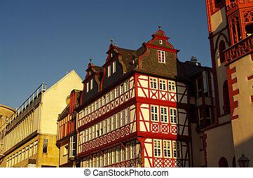fachwerk houses at r?merberg in Frankfurt