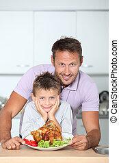 afixando, jantar, pai, filho