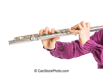 Transverse flute - Clouse up view fingers playing on the...