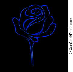 blue stylised rose - Abstract blue stylised rose on black...