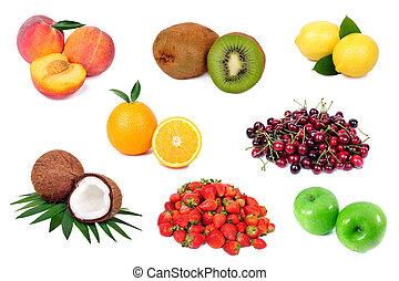 Set of fresh fruits isolated on white background