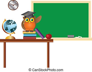 Owl Teacher in Classroom with Chalkboard Illustration