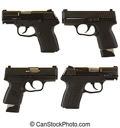Handguns isolated on white background depicting a black 9mm...
