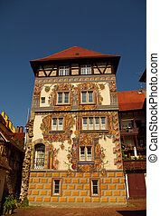 Medieval building with painted facade in Konstanz, Germany
