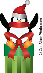 Penguin with Santa Hat on Present Illustration