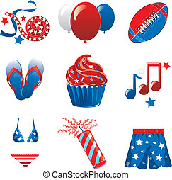 July 4th Party Icons - Vector Illustration of nine icons for...