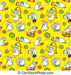 Vector pattern with cartoon sheep on yellow background