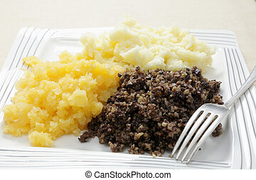Haggis dinner - A traditional Scottish haggis meal, often...