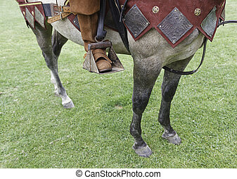 Medieval horse, detail of a horse dressed for war