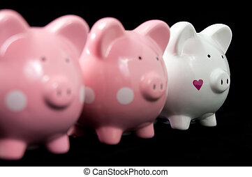 Three Litte Pigs - Three little piggy banks lined up. Unique...
