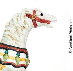 Minature Carousel Horse on white background