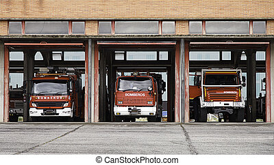 Fire station  - Fire station, fire fighting trucks