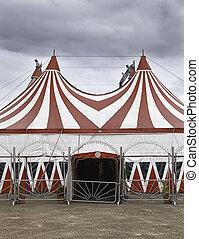Circus in town, circus tent, fun
