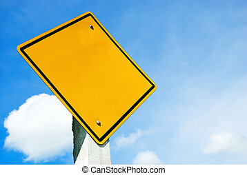 Blank yellow sign