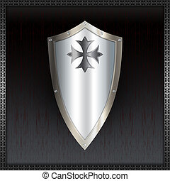 Shield with maltese cross. - Abstract shield for the design.