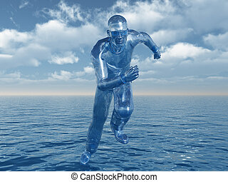 liquid man runs over the water - 3d illustration