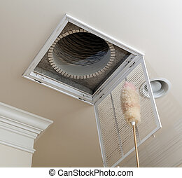 Dusting vent for air conditioning filter in ceiling