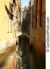 Water reflexions in Venice - Classic view of Venice with...