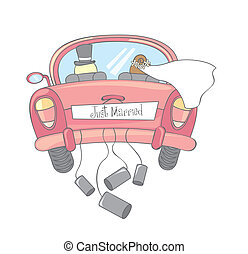 just married car isolated, vintage vector illustration