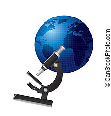 microscope over planet isolated over white background vector...