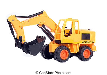 plastic toy excavator isolated on white background