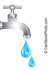 tap water with water drops over white background. vector