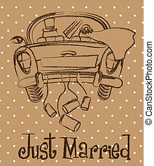 just married car over brown background, grunge. vector...
