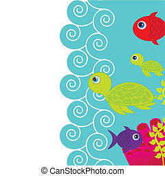 cute fishes and turtle into sea with space for copy. vector