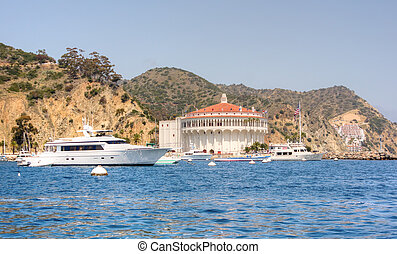 Mega Yacht at Avalon Harbor - Starboard view of mega yacht...
