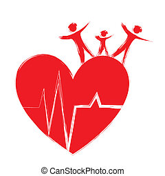 medical - red heart with people isolated over white...