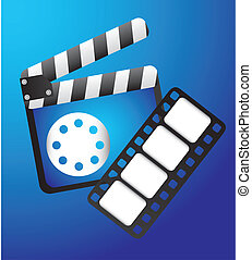 clapper board with film strip over blue background vector