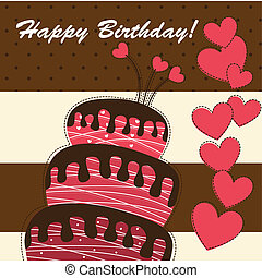 birthday card - happy birthday card with cake and hearts....