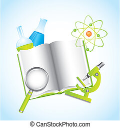 chemical illustration with book over blue background vector...