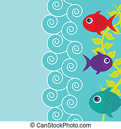 cute fishes - cute fushes with sea and space for copy....