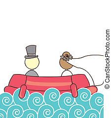 just married over ship and sea vector illustration