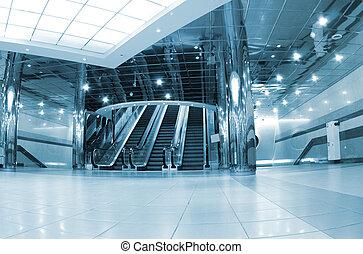 Modern metro station stair