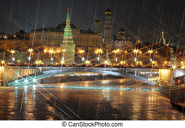 Moscow kremlin night view X-cross effect