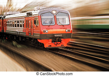 Arrivind red electrical train