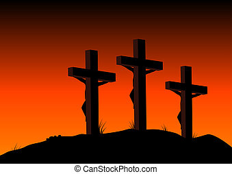 Crucified - Abstract illustration of 3 figures on crosses